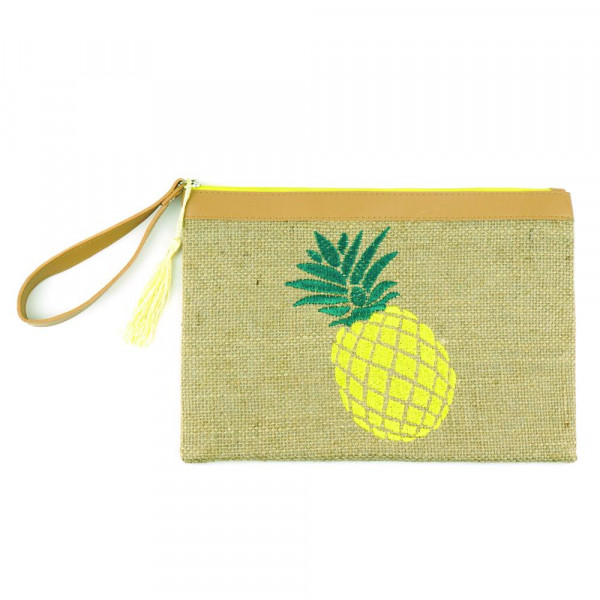 "Pineapple embroidered canvas travel wristlet.  - Approximately 7"" W x 5"" T - 95% Jute, 5% Polyester"