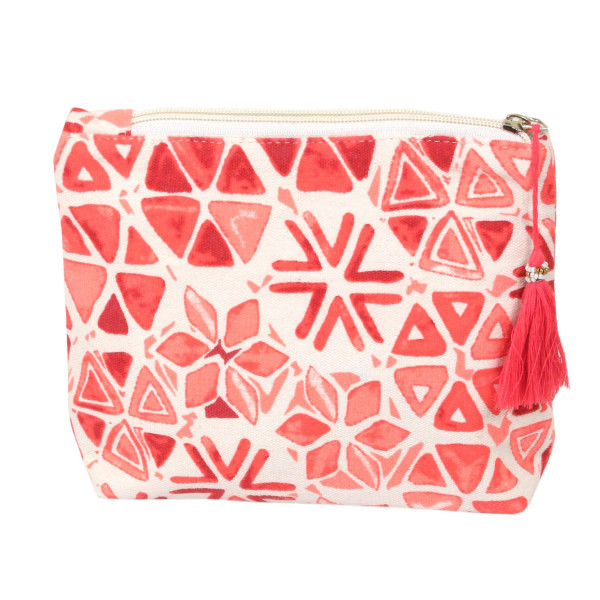 "Geometric flower travel pouch with tassel accent.  - Open inside - Zipper closure - Approximately 8"" W x 6"" T - 100% Cotton"