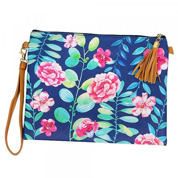 """Flower cross body/ clutch with 2 straps. Pu exterior-Polyester interior. 10"""" x 8"""" in length. Hangs 27"""" off shoulder."""