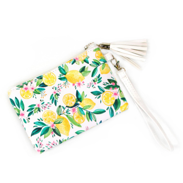 Fruit wallet/ clutch with wristlet. Pu exterior- Polyester interior.