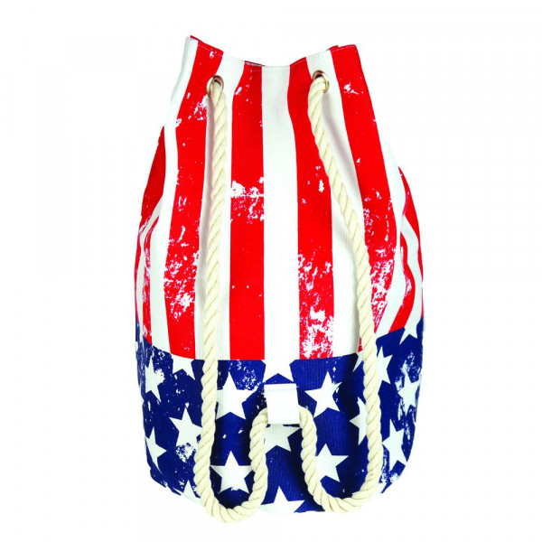 """Distressed American Flag tote bag with rope drawstring.  - Approximately 18.25"""" x 18.25"""" x 11"""" in size"""