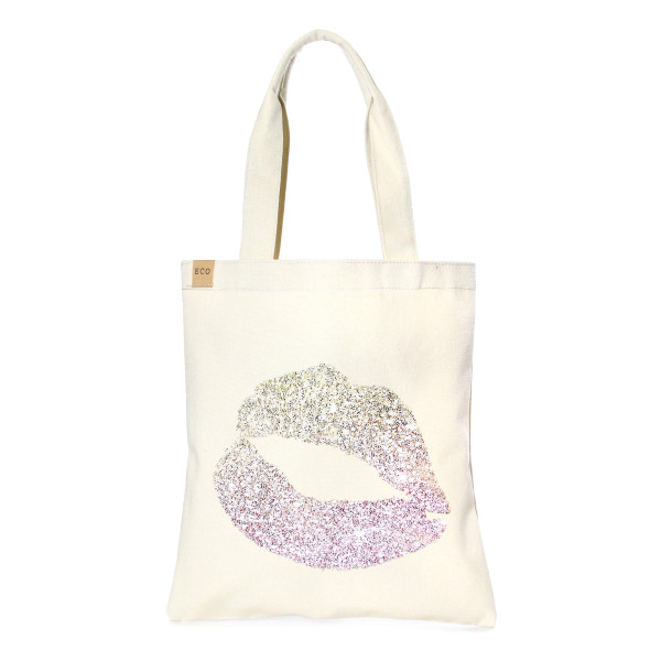 """Eco friendly tote bag """"Lipstick Kiss Print"""". Measures approximately 13"""" x 15"""" in size. 100% Cotton."""