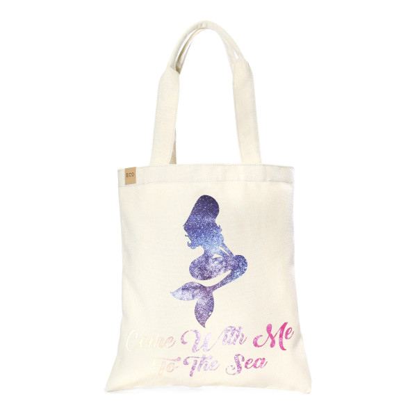 """Eco friendly bag with """"Come With Me To The Sea"""" message. 100% Cotton. 13"""" x 15"""" in length."""