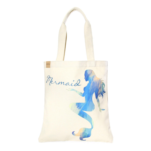 """Eco friendly bag with """"Mermaid"""" message. 100% Cotton. 13"""" x 15"""" in length."""
