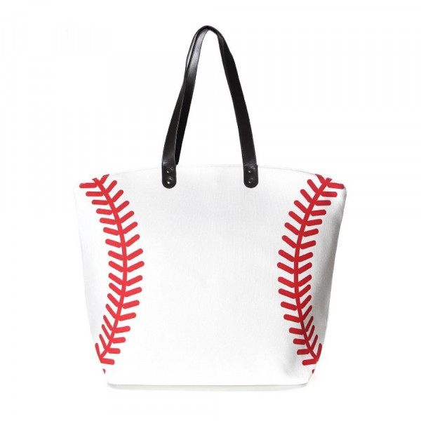 "Baseball tote bag is perfect for tailgating and monogramming. This bag features a snap closure, lined interior and interior pockets. 21"" x 16"" in size with a 10"" handle drop. 80% cotton and 20% polyester."
