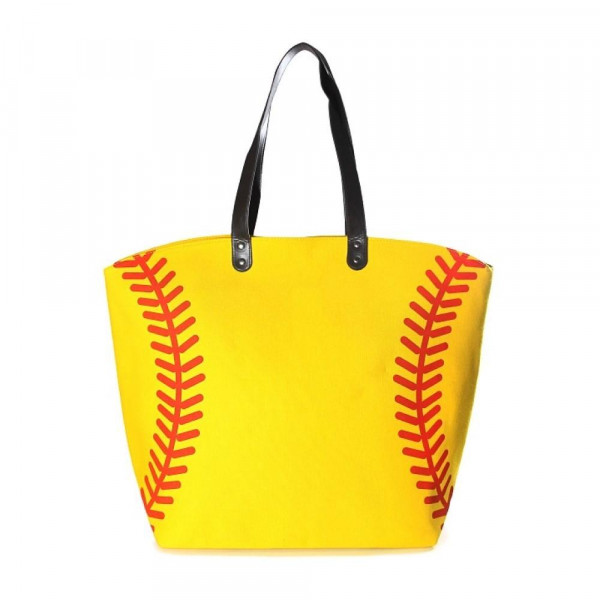 "Softball tote bag is perfect for tailgating and monogramming. This bag features a snap closure, lined interior and interior pockets. 21"" x 16"" in size with a 10"" handle drop. 80% cotton and 20% polyester."