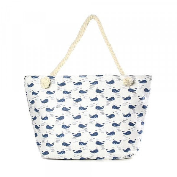 """Canvas tote bag with an whale pattern, top zipper closure, rope handles and a lining inside with pockets. 35% cotton and 65% polyester. Measures approximately 21"""" x 13"""" in size."""