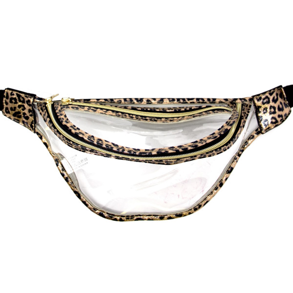 """Clear fanny pack with two zipper pouches. Measuring approximately 10"""" x 6"""" in size."""