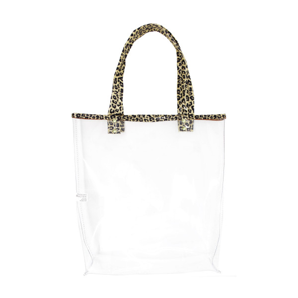 """Clear tote bag with leopard print handles. 60% PVC 40% PU. Measuring approximately 15"""" x 14"""" in size."""