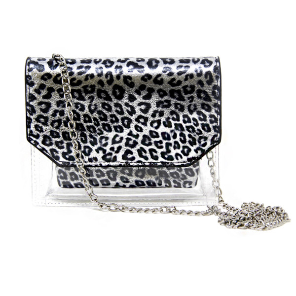 """Silver and clear cheetah print crossbody handbag. 60% PVC 40% PU. Measuring 7""""x 6"""" in size and 26"""" in length."""