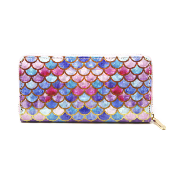 """Mermaid fin scale print wallet includes coin zip with credit card holder on inside. Measures approximately 7"""" x 3"""" in size. Material 100% pvc."""