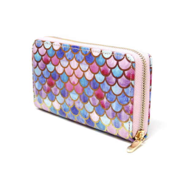"""Mermaid fin scale print wallet includes coin zip with credit card holder on inside. Measures approximately 7"""" x 3"""" in size."""