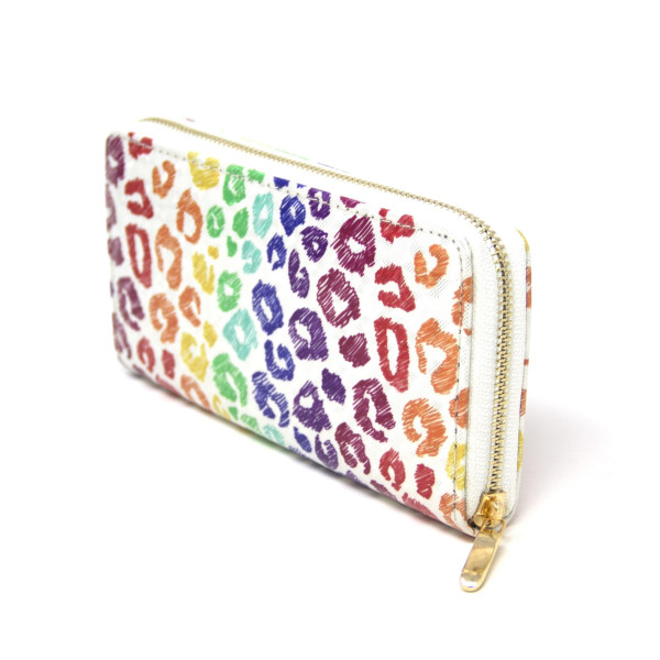 """Rainbow animal print wallet, includes coin zip with credit card holder on inside. Measures approximately 7"""" x 3"""" in size."""