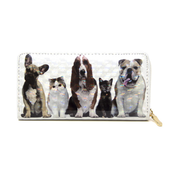 """Dogs and cats wallet, includes coin zip with credit card holder on inside. Measures approximately 7"""" x 3"""" in size."""