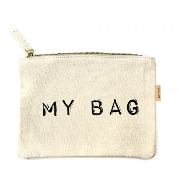 "Canvas zipper pouch ""My Bag"". Measures 7"" x 6"" in size. 100% Cotton."