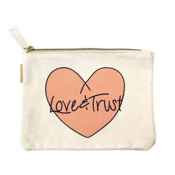 "Eco friendly pouch ""Love & Trust"". Measures approximately 7"" x 5"" in size. 100% Cotton."