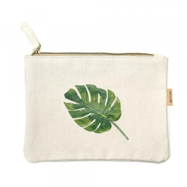 "Canvas zipper pouch ""Palm Leaf"". Measures 7"" x 6"" in size. 100% Cotton."