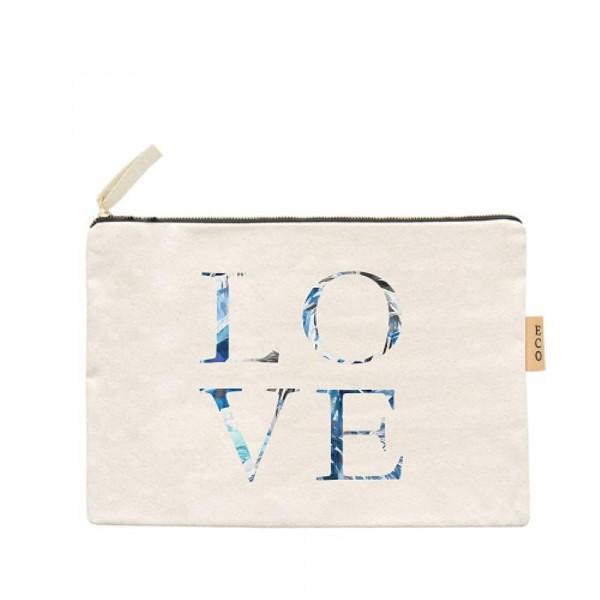 "Canvas zipper pouch ""Love"". Measures 7"" x 6"" in size. 100% Cotton."