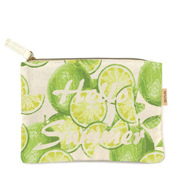 "Canvas zipper pouch ""Hello summer"". Measures 7"" x 6"" in size. 100% Cotton."