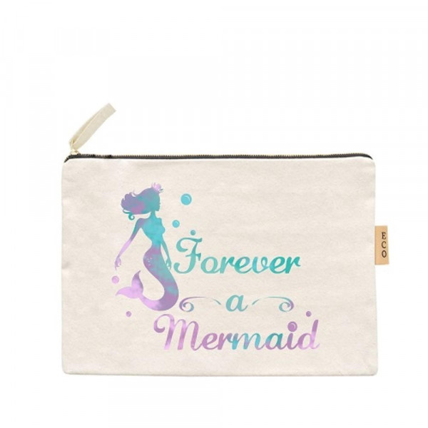 """Forever a mermaid canvas travel pouch.  - Open lined inside, no pockets - Zipper closure - Approximately 7"""" W x 6"""" T - 100% Cotton"""