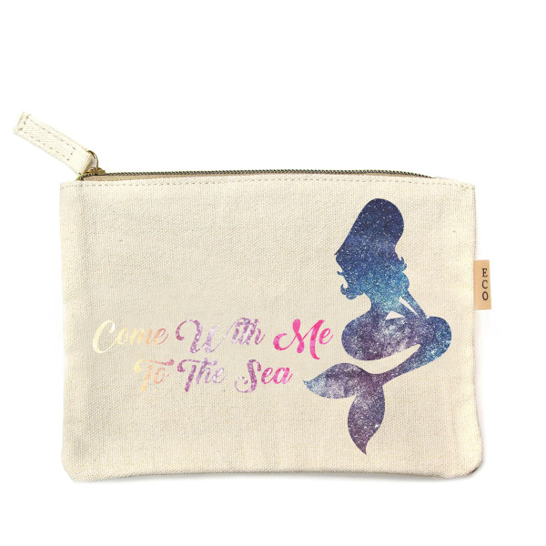 """Canvas zipper pouch """"Come with me to the Sea"""". Measures 7"""" x 6"""" in size. 100% Cotton."""