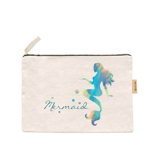 """Mermaid canvas travel pouch.  - Open lined inside, no pockets - Zipper closure - Approximately 7"""" W x 6"""" T - 100% Cotton"""