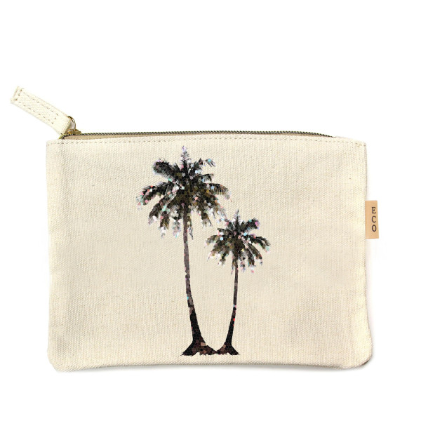 "Canvas zipper pouch ""Palm Trees"". Measures 7"" x 6"" in size. 100% Cotton."