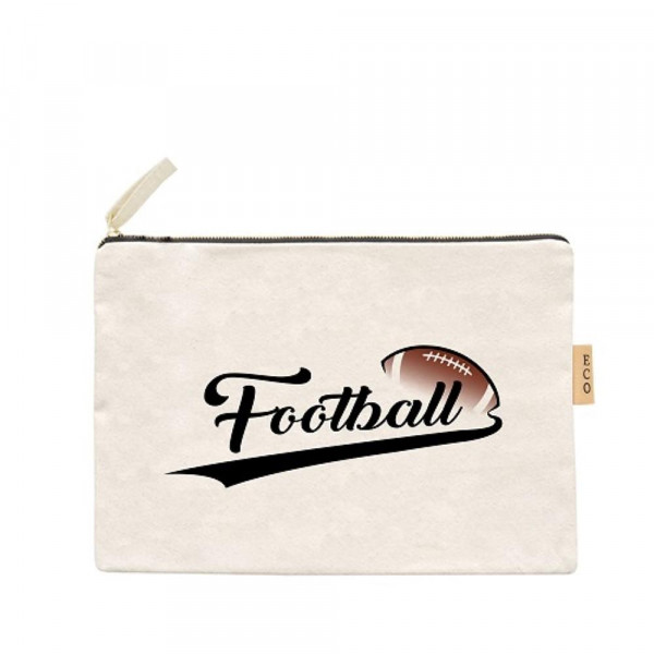 "Canvas zipper pouch ""Football"". Measures 7"" x 6"" in size. 100% Cotton."
