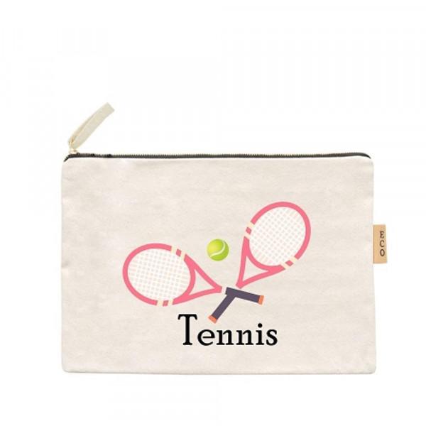 """Canvas zipper pouch """"Tennis"""". Measures 7"""" x 6"""" in size. 100% Cotton."""