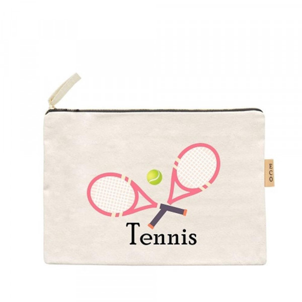 Wholesale tennis canvas travel pouch Open lined inside no pockets Zipper closure