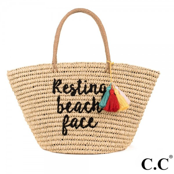 CC- BG2017- Resting beach face colorful tassels embroidered straw tote. 100% paper. One size.