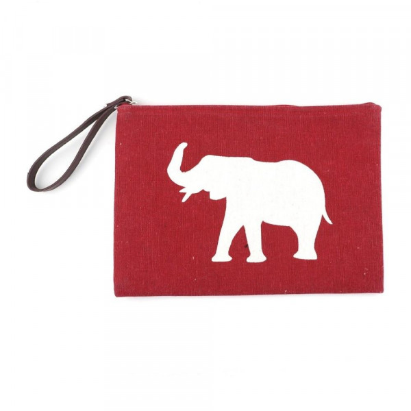 "Alabama clutch featuring a wristlet, lined inside with pocket and zipper closure. Approximately 7"" x 10"" in size.  - Composition: 60% Cotton, 40% Polyester"