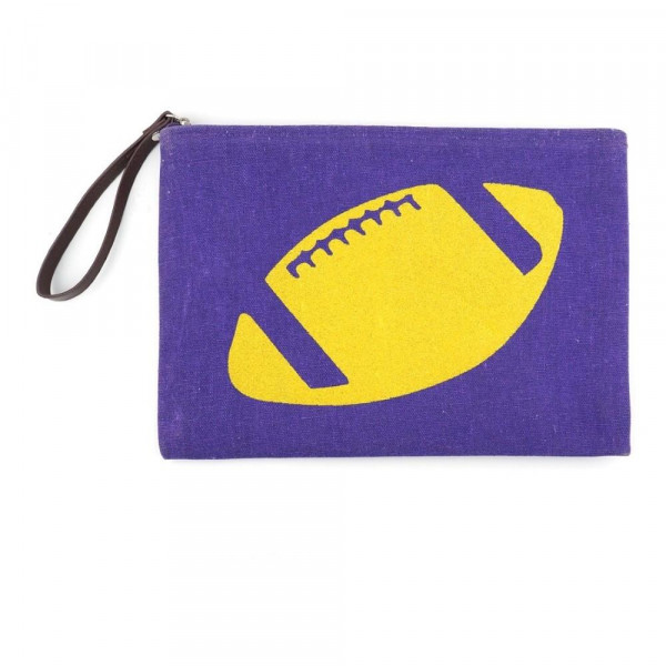 "Football glitter clutch featuring a wristlet, lined inside with pocket and zipper closure. Approximately 7"" x 10"" in size.  - Composition: 60% Cotton, 40% Polyester"