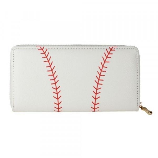 """Faux leather baseball long wallet featuring a zipper coin pouch, full-bill and card compartments with zip around closure.  - Approximately 7.5"""" W x 4"""" T - 100% PU"""