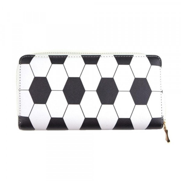 """Faux leather soccer long wallet featuring a zipper coin pouch, full-bill and card compartments with zip around closure.  - Approximately 7.5"""" W x 4"""" T - 100% PU"""