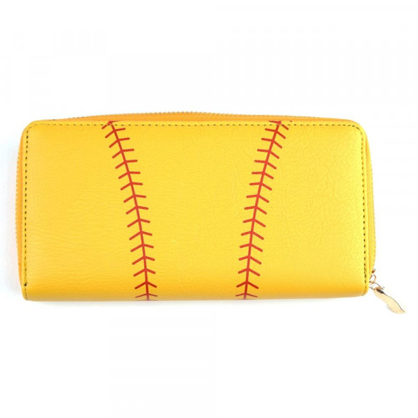 """Faux leather softball long wallet featuring a zipper coin pouch, full-bill and card compartments with zip around closure.  - Approximately 7.5"""" W x 4"""" T - 100% PU"""
