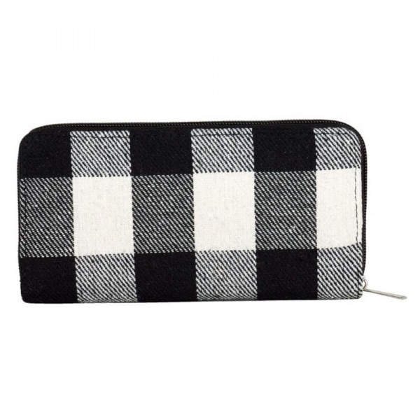 "Buffalo check long wallet featuring a zipper coin pouch, full-bill and card compartments with zip around closure.   - Approximately 7.5"" W x 4"" T - 100% Polyester"