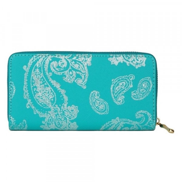 """Faux leather metallic paisley print long wallet featuring a zipper coin pouch, full-bill and card compartments with zip around closure.  - Approximately 7.5 """" W x 4"""" T - 100% Polyester"""