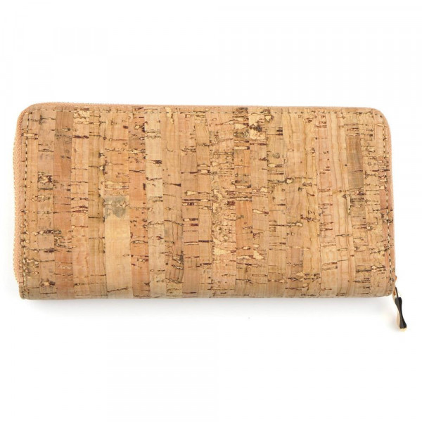 """Cork inspired long wallet featuring a zipper coin pouch, full-bill and card compartments with zip around closure.  - Approximately 7.5"""" W x 4"""" T - 100% PU"""