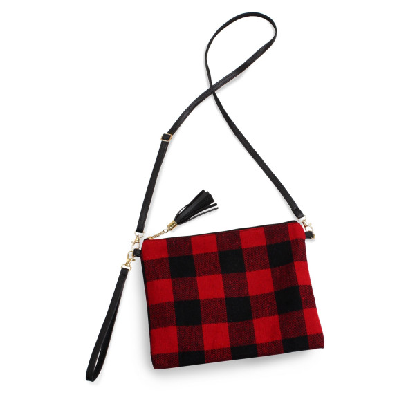 """Buffalo check crossbody/clutch bag featuring a lined inside pocket detail and zipper closure.  - Approximately 11"""" W x 8.5"""" H - 100% Polyester"""
