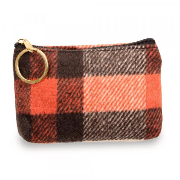"""Plaid coin/card pouch.  - Approximately 5.5"""" W x 4"""" H - 100% Polyester"""