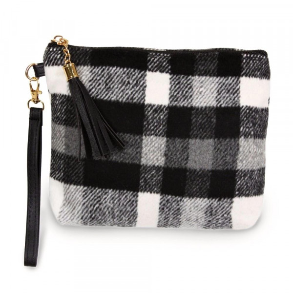 "Plaid pouch bag with a zipper closure tassel detail and detachable wristlet.  - Approximately 9"" W x 6.5"" H - 100% Polyester"