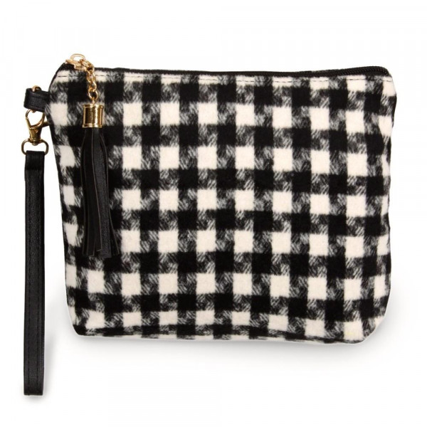 "Houndstooth pouch bag with a zipper closure tassel detail and detachable wristlet.  - Approximately 9"" W x 6.5"" H - 100% Polyester"