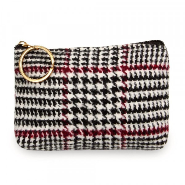 "Glen check coin/card pouch.  - Approximately 5.5"" W x 4"" H - 100% Polyester"