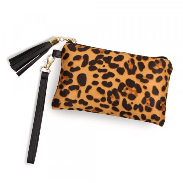 "Leopard print pouch with a zipper closure tassel detail and detachable wristlet.  - Approximately 8"" W x 5"" H - 100% Polyester"