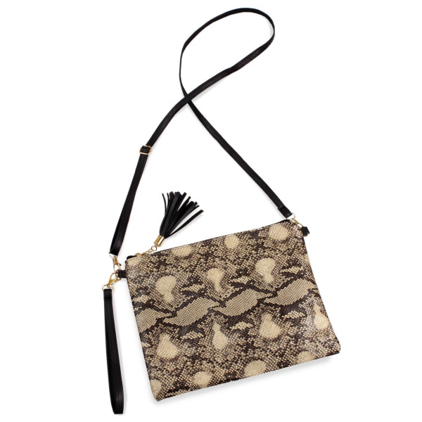 "Python print crossbody/clutch bag featuring a lined inside pocket detail and zipper closure.  - Approximately 11"" W x 8.5"" H - 100% Polyester"