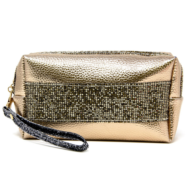 """Metallic faux leather cosmetic/travel pouch with detachable wristlet.  - Open lined inside, no pockets - Zipper closure - Detachable wristlet 6"""" L - Approximately 9"""" W x 4"""" T - 60% PVC, 40% PU"""