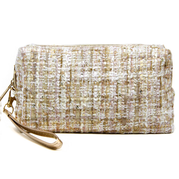 "Tweed cosmetic/travel bag with an open lined inside and detachable wristlet.   - Approximately 10"" W x 4"" T; Wristlet approx. 6"" L - 100% Polyester"