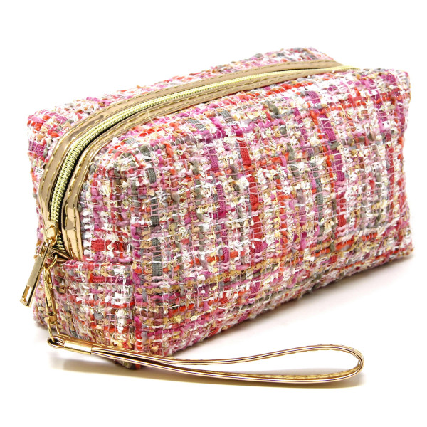 "Tweed cosmetic/travel pouch with detachable wristlet.  - Open lined inside, no pockets - Zipper closure - Detachable wristlet 6"" L - Approximately 10"" W x 4"" T - 100% Polyester"
