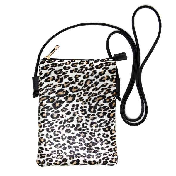 """Leopard print crossbody bag featuring:  - No inside pockets - One outside pocket  - Approximately 6"""" W x 8"""" T - 100% PU"""